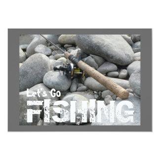 ¡Vayamos a pescar! Invitación del viaje de pesca