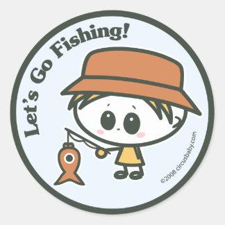 Vayamos a pescar pegatina redonda