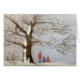 Vayamos a Sledding la tarjeta de Navidad