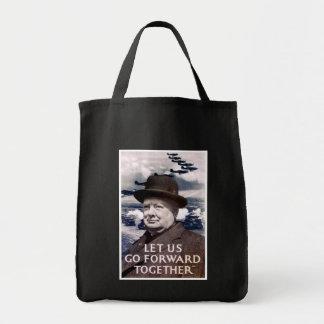 Vayamos adelante junto bolsa tela para la compra