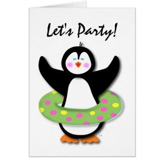 Vayamos de fiesta la tarjeta del pingüino de la na