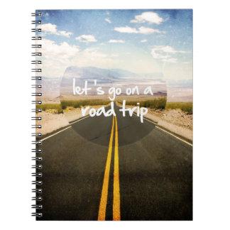 Vayamos en un viaje por carretera spiral notebooks