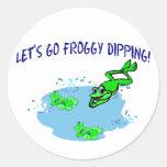 Vayamos inmersión del Froggy Etiquetas Redondas