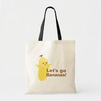 Vayamos los plátanos con este plátano lindo y feli bolsa tela barata
