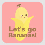¡Vayamos los plátanos! Pegatina Cuadradas Personalizadas