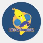 ¡Vayamos los plátanos! Pegatina Redonda
