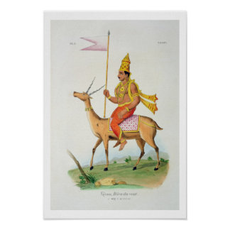 Vayu, engraved by C. de Motte (1785-1836) (colour Poster