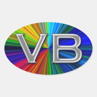 VB Virginia Beach Psychodelic Colors Oval Logo Oval Sticker