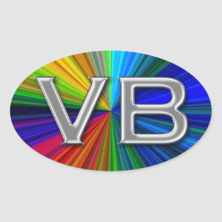 VB Virginia Beach Psychodelic Colors Oval Logo Stickers