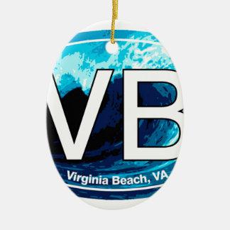 VB Virginia Beach Wave Oval Ceramic Ornament