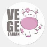 Ve Ge Tarian (Pink Cow) Round Sticker