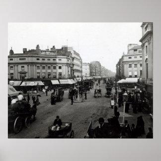 Vea abajo de la calle de Oxford, Londres, c.1890 Póster