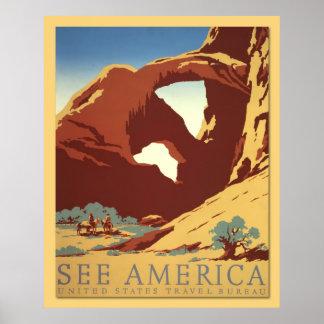 Vea América - los vaqueros y las formaciones de ro Póster
