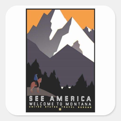 Vea América Montana Pegatina Cuadrada