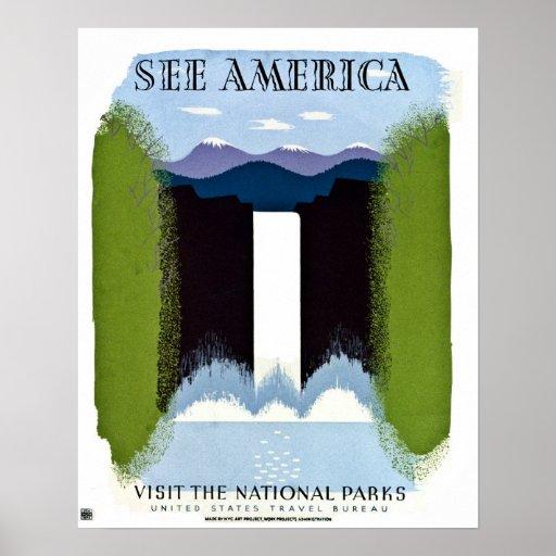 Vea América visitar el vintage de los parques naci Impresiones