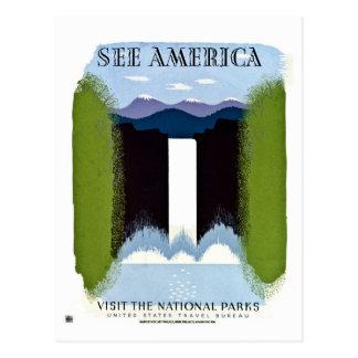 Vea América visitar el vintage de los parques naci Tarjeta Postal