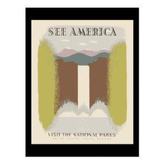 Vea América visitar los parques nacionales Tarjetas Postales