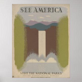 Vea América: Visite los parques nacionales Póster