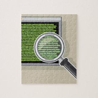 Vea el código a través de la lupa puzzle