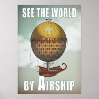 Vea el mundo en dirigible Nautisme Steampunk viaja Póster