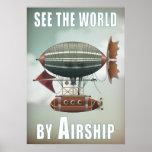 Vea el mundo por viaje del dirigible el | Steampun Póster