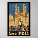 Vea el poster del viaje del vintage de la India im