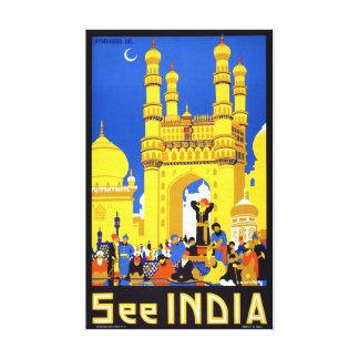 Vea el poster del viaje del vintage de la India Lienzo Envuelto Para Galerías