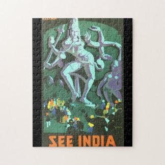 Vea el poster del viaje del vintage de la India Rompecabeza