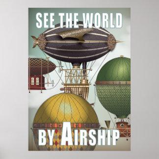 Vea el viaje de Steampunk de la raza del dirigible Póster