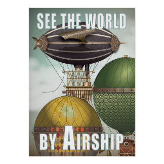Vea el viaje de Steampunk del trío del dirigible d Impresiones