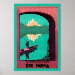 Vea el vintage del ~ de la India viajar Posters