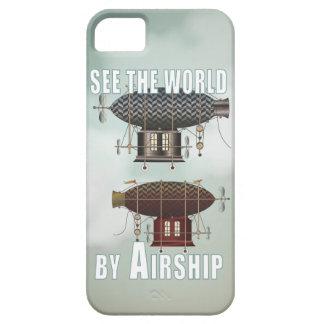Vea el vintage del mundo viajar arte de Steampunk iPhone 5 Fundas