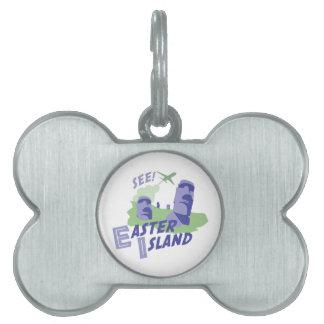 ¡Vea! Isla de pascua Placas De Nombre De Mascota
