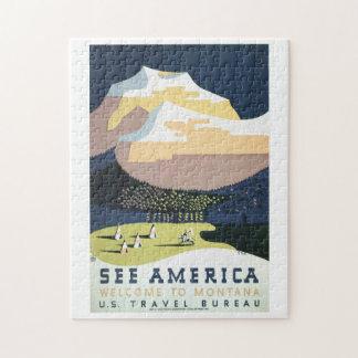 Vea la recepción de América al viaje del vintage Puzzle