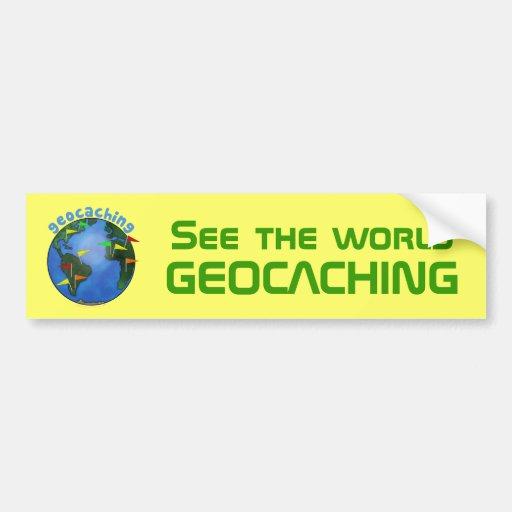 Vea la tierra amarilla de la fuente del espacio de etiqueta de parachoque