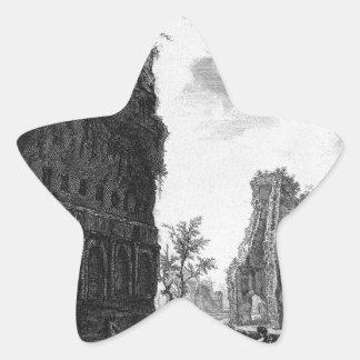 Vea los restos de la circunferencia de los oldes pegatina en forma de estrella