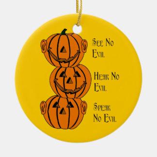 Vea ningún, oiga ningún, no hable ningún ornamento adorno navideño redondo de cerámica