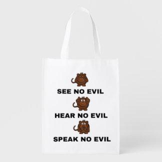 Vea para no oír y para hablar ningún bolso malvado bolsas para la compra