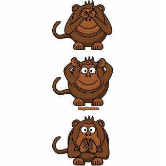 Vea para oír para no hablar ningún mono del mal escultura fotográfica