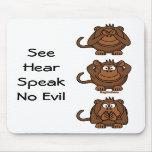 Vea para oír para no hablar ningún mono del mal, S Tapete De Ratón