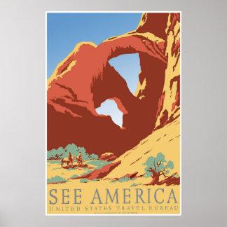 """""""Vea poster del viaje de WPA del vintage de Améric"""