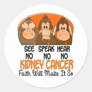 Vea que hablar no oiga a ningún cáncer 1 del riñón pegatina redonda