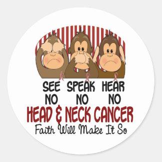 Vea que hablar no oiga ningún cáncer de cabeza y c etiquetas redondas