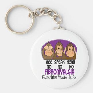 Vea que hablar no oiga ningún Fibromyalgia 1 Llavero Redondo Tipo Pin