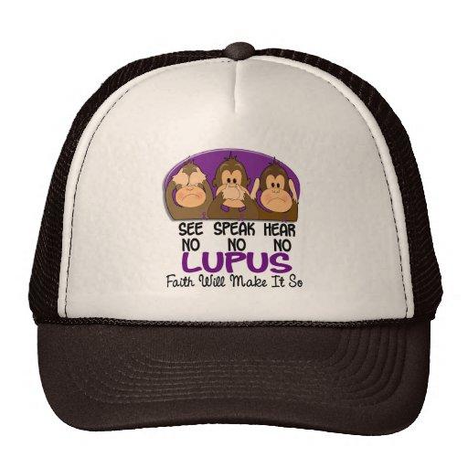 Vea que hablar no oiga ningún lupus 1 gorras de camionero