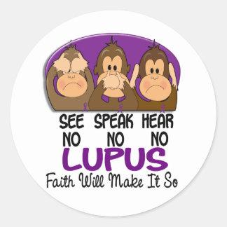 Vea que hablar no oiga ningún lupus 1 etiqueta redonda
