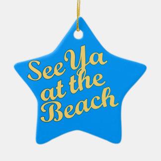 Vea Ya en la playa Adorno Navideño De Cerámica En Forma De Estrella