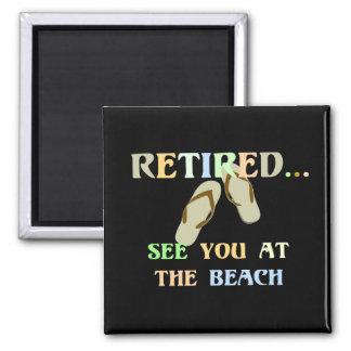 - Véale en la playa - hombres jubilados Imán Cuadrado