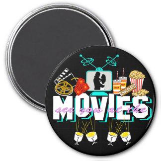 Véale en las películas - fondo oscuro imán redondo 7 cm