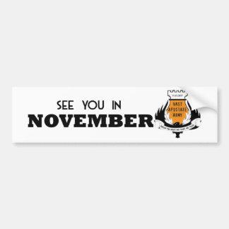 Véale en noviembre pegatina para el parachoques de pegatina de parachoque